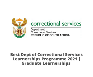 Dept of Correctional Services Learnerships Programme Vacancies